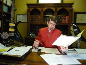 Eternal Minister of Chilies and Dubious Anthems, Walter Ehresman, reviewing the results of the chili tests.